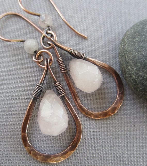 SALE+/Hammered+Copper+Earrings+W.+Rose+Quartz/+Copper+by+mese9,+$29.00