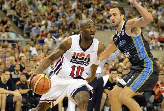 El partido de baloncesto en Los Juegos Olímpicos, Estados Unidos contra Argentina.