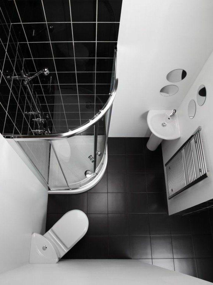 plan salle de bain 3m2 blanc-noir, sol en carrelage noir, murs blancs