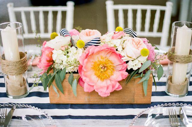 Pink peony centerpiece   Jenna Henderson Photography   see more on: http://burnettsboards.com/2015/04/preppy-summer-garden-wedding/