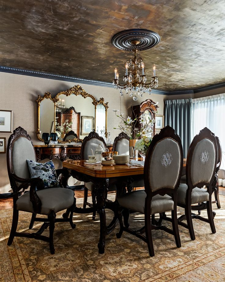 Formal Dining Room With Antique French Set, Hand Painted