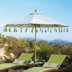 So fun!  Carousel Gingko Outdoor Umbrella, Frontgate