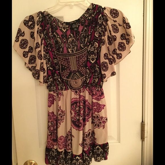 Style & Co. Top Cute XS abstract print top is perfect over a pair of capris or leggings. Raspberry, taupe, and cream print top features an empire style waist and embroidered bodice. Worn a few times, this top is like new. 100% rayon. Style & Co Tops Blouses