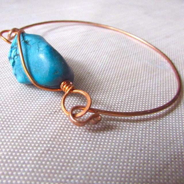 Copper and Gemstone Bangle Bracelet - Jewelry creation by Raziela Designs