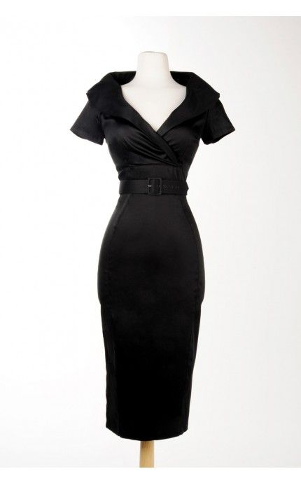 Christina Dress in Black Sateen | Pinup Girl Clothing ***wish it was shorter***
