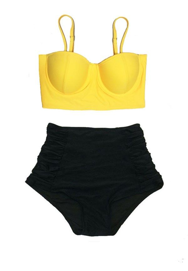 15643a48d7 Yellow Underwire Underwired Wire Midkini Top and Black Ruched High ...