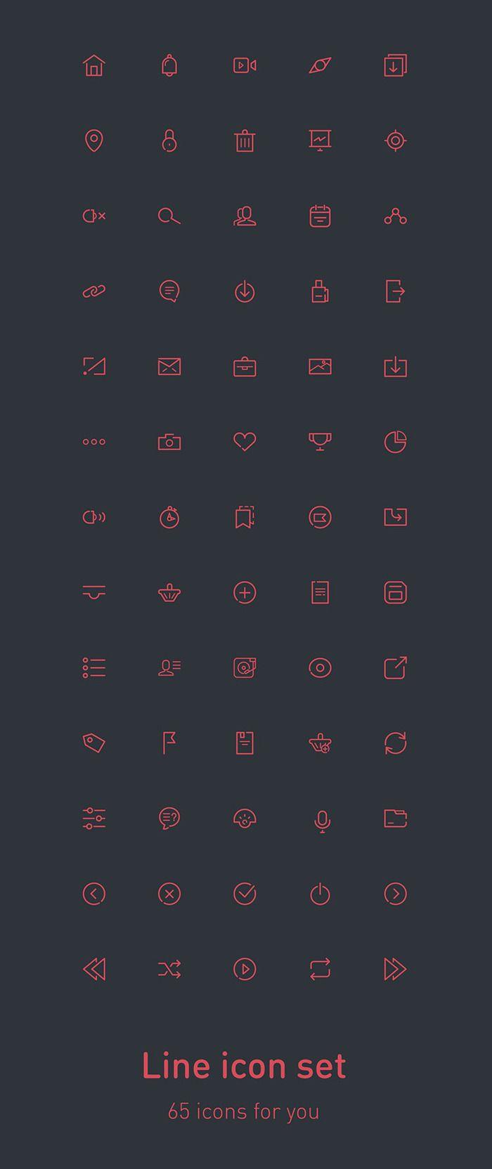 free psd 65 line icons