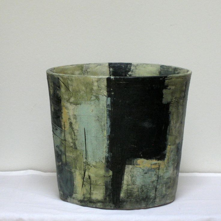 Cylindrical Small Vessel II - Finn produces contemporary vessels and forms, which are inspired by modern abstract sculpture. Most of his works are painted with vitreous slips, which he adds in several layers to give the unique surface and colour variations.