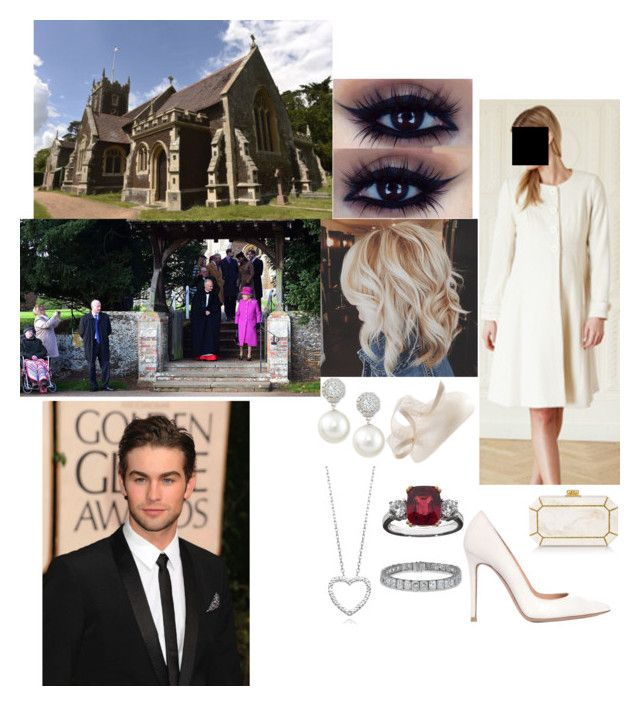 """Flashback: Attending The Christmas Service At St Mary Magdalene Church"" by dawn-windsor ❤ liked on Polyvore featuring Gianvito Rossi, Edie Parker and Belpearl"