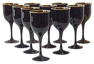Black Wine Glasses, S/10