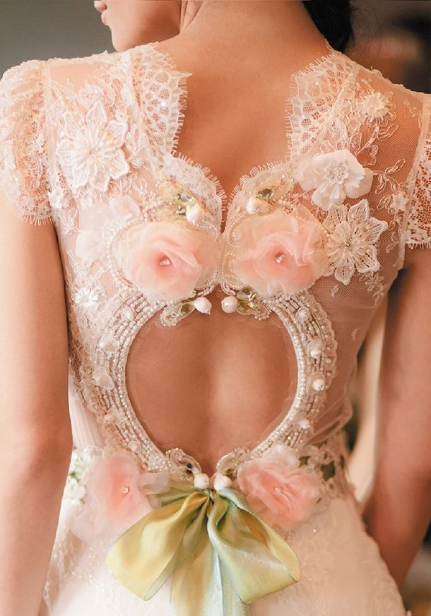 Claire Pettibone, gorgeous pink detail. I like the shape ofnthis , not so much the fruffiness