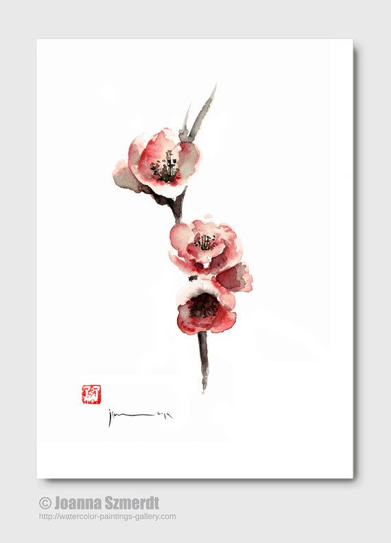 CHERRY Blossom Sakura Flowers Pink Red White Brown Black Tree Flower GICLEE fine art print of watercolor PAINTING
