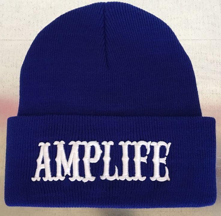 AMPLIFE BLUE & WHITE BEANIE