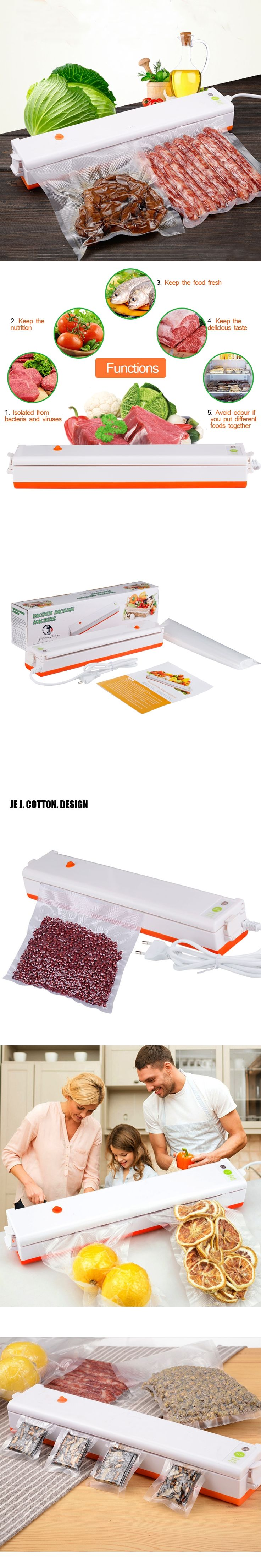 110V 220V Home Vacuum Food Sealer Machine with Free Bags Vacuum Packing Packer for Food Sealing Packages Packers for Kitchen