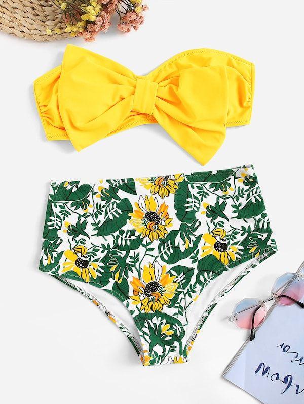 0ddee630a6 Bow Decorated Ruched Bandeau With Random Floral Bikini | SHEIN | Mom ...