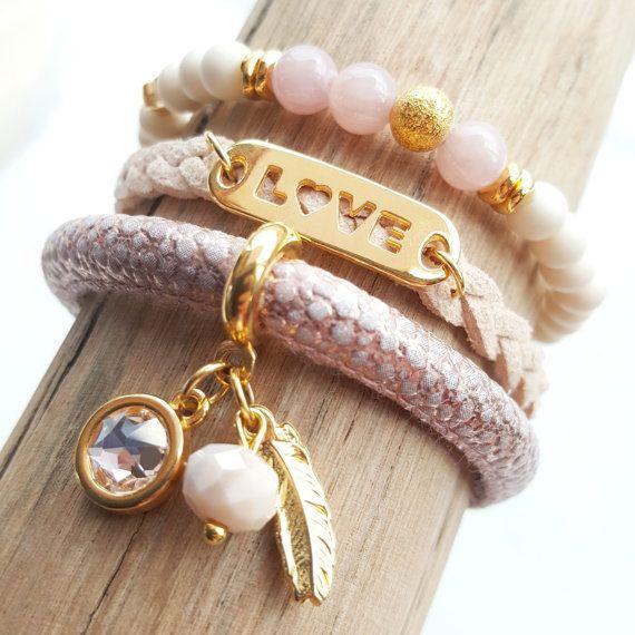 Set van 3 armbanden Kralen armband Koord armbanden door JewelryByLis