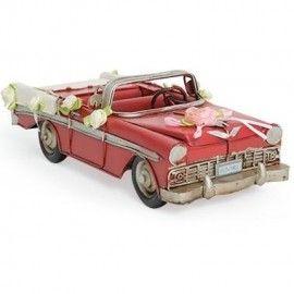 Retro Metal Chevrolet Gelin Arabası Kırmızı