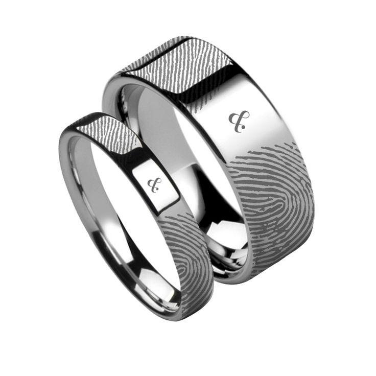 Simple Matching Rings Set Fingerprint Ampersand u Symbol Flat Tungsten Carbide Wedding Ring mm u mm