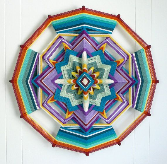 Pequeña Mariposa (Little Butterfly), an 18 inch, 12-sided, all wool Ojo de Dios, by custom order