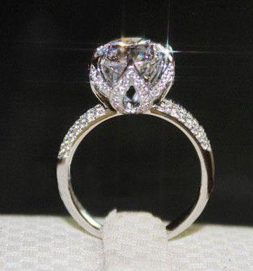 Роскошный 4 карат гало в форме ДКНБ Имитация кольцо с бриллиантом, обручальные кольца для женщин, 100% чистого стерлингового серебра 925 Обручальное кольцо 4094,07