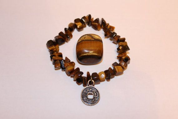 Tiger Eye Charm Elasticated Bracelet by JennyferPicolo on Etsy