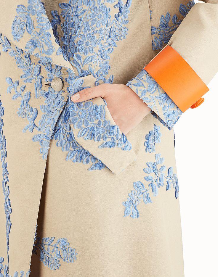 FENDI OVERCOAT - Multicolor silk trench coat - view 3 detail