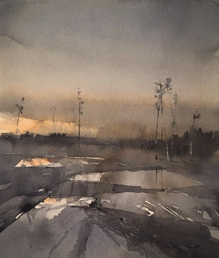 'Clear-cut, March', watercolour by Magnus Petersson.