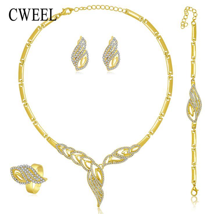 ゴールドメッキ新しいジュエリーセット用女性ビーズ襟ネックレスイヤリングブレスレットリングセット衣装最新ファッションアクセサリー