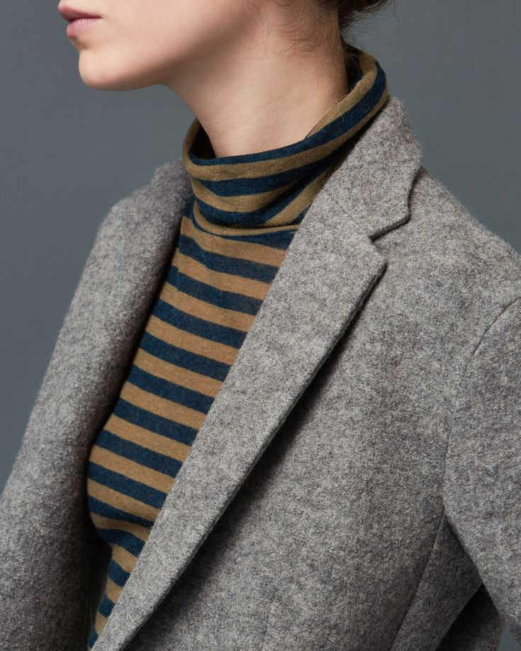 TOAST | Unstructured long jacket in a warm, weighty boiled wool with single button fastening at front