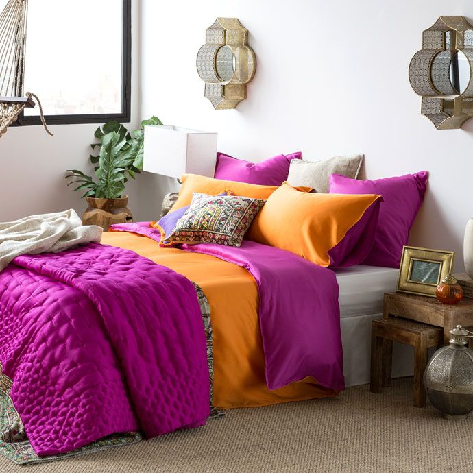 PAARSE SPREI MET GESATINEERD EFFECT - Dekbedden - Slaapkamer | Zara Home Holland