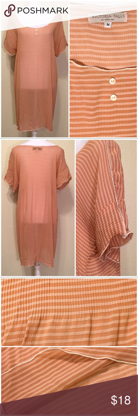 Selling this Apricot Striped Dress by Rena Gill on Poshmark! My username is: 73honeybees. #shopmycloset #poshmark #fashion #shopping #style #forsale #Victoria Falls by Rena Gill #Dresses & Skirts