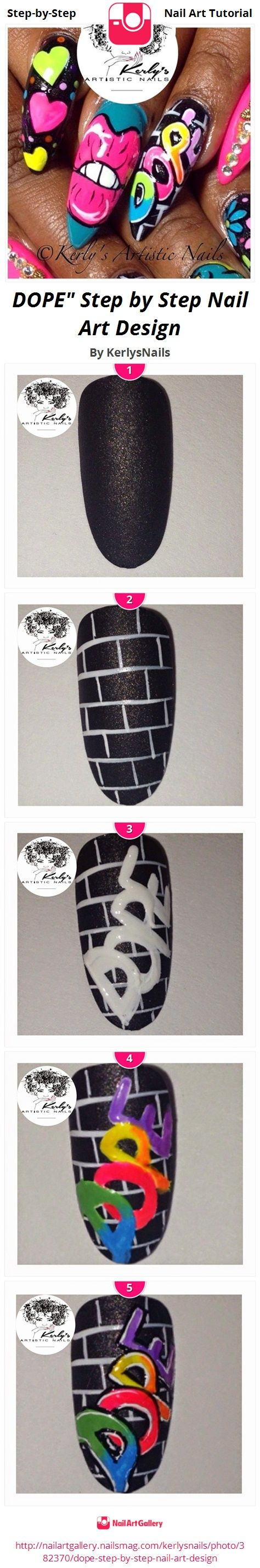 "DOPE"" Step by Step Nail Art Design by KerlysNails - Nail Art Gallery Step-by-Step Tutorials nailartgallery.nailsmag.com by Nails Magazine www.nailsmag.com #nailart"