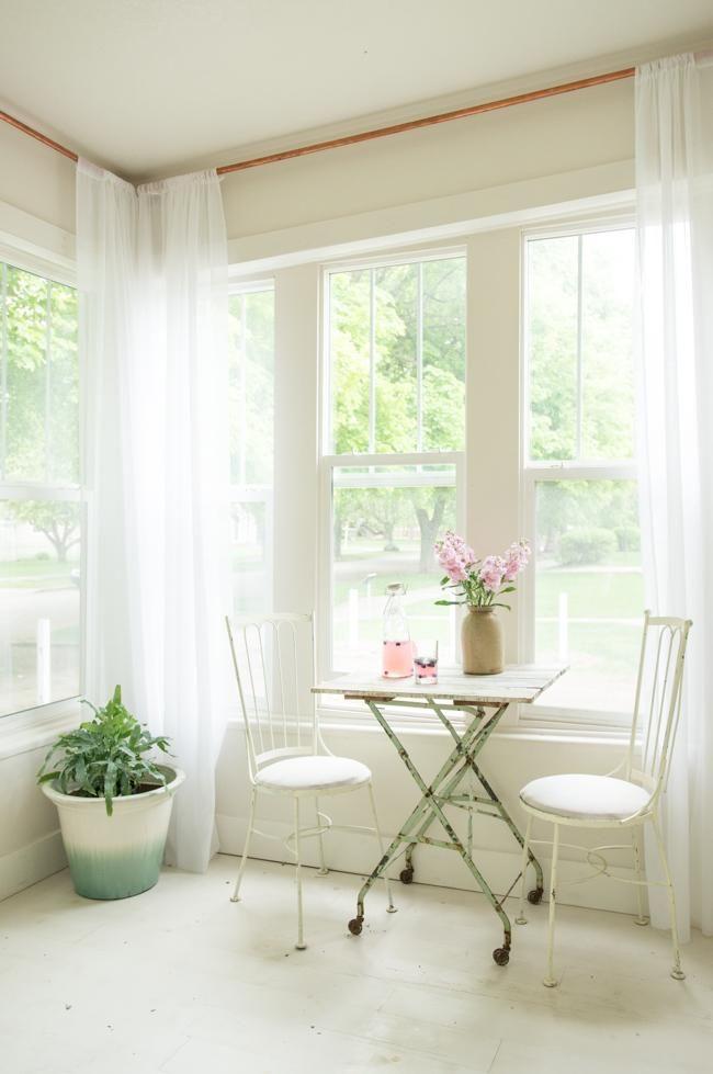 Barra cortina de tuberís de cobre Casa de cuento - detalles mirador
