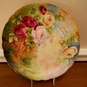 Beautiful Feminine Victorian Limoges Charger Plate (Plaque) with Multicolor Red, Pink, White/Y