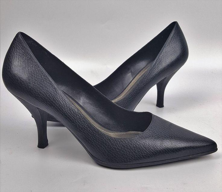Antonio Melani shoes 8.5 M black pebbled leather pointed-toe pumps 3-inch heels #AntonioMelani #PumpsClassics #WeartoWork