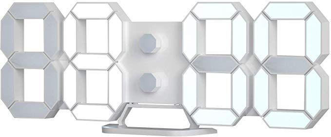 Amazon.com: 3D LED Digital Desktop Alarm Clock 9.7 Inch Wall Desk Timer  Brightness Adjustable for Hotel Office Home Livi… | Home living room, Wall  desk, Alarm clock