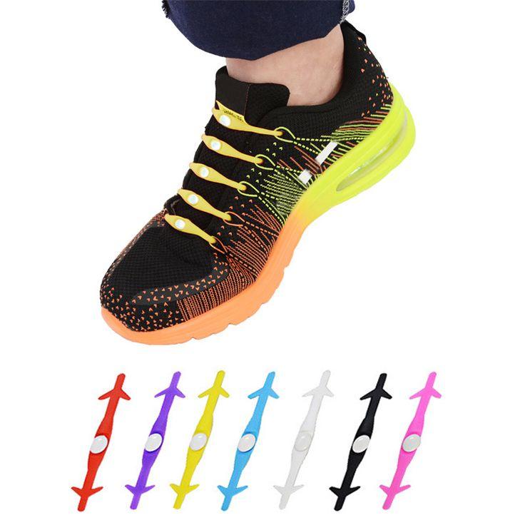 12 unids Novedad Unisex Mujer Hombre Sin Corbata Cordón de Zapato para Todas Las Zapatillas de Deporte Corrientes ShoesLaces Cordones Elásticos de Silicona Populares