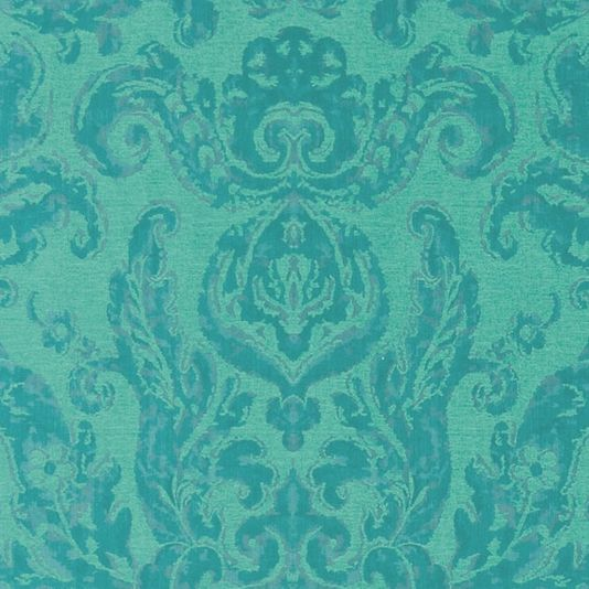 Brocatello Damask Wallpaper A grand wallpaper shown in bright shades of peacock blue and green, featuring the iconic Brocatello damask design. The damask has been printed with light reflective inks to create an extra dimension while the backdrop has a subtle textured appearance, reminiscent of the original fabric on which this design is based.
