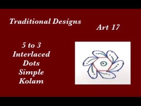 Dots Rangoli Art 17 - 5 to 3 interlaced dots - Muggu - Simple Kolam designs