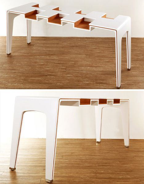 exhibit white wood table