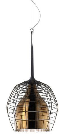 Cage Pendant Light by Diesel Living with Foscarini | Inspired by the lamps of miners and workers, Cage is enclosed by a metal cage which here becomes a decorative element and the name of the lamp. The contrast between the glossy surface of the blown glass diffuser and the hand-crafted steel external cage makes Cage unique.