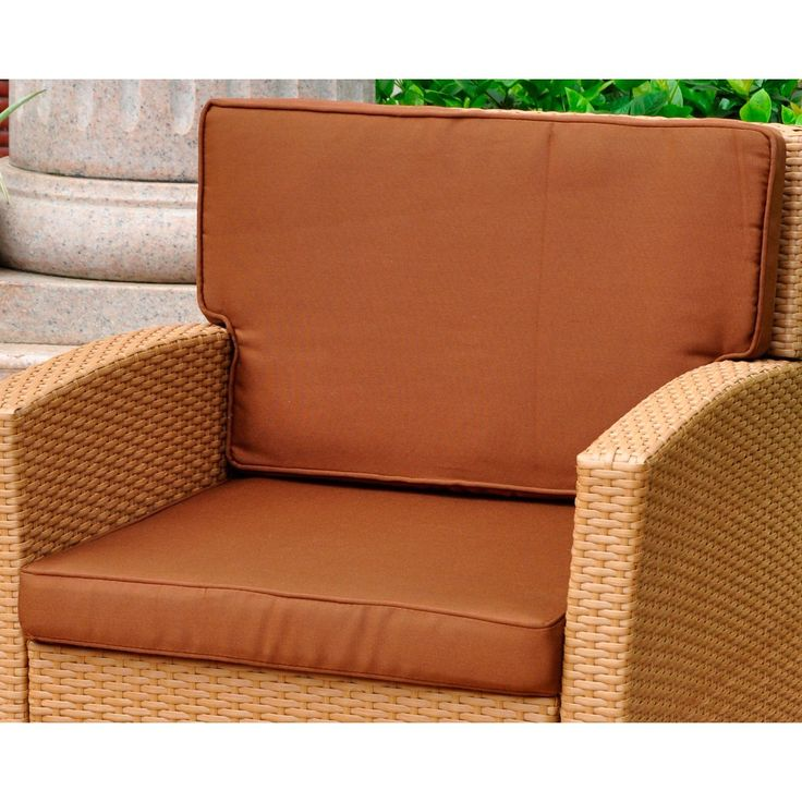 Blazing Needles International Caravan Corded Replacement Cushions For Valencia Chair Set Of 2 Brown Polyester Outdoor Cushion