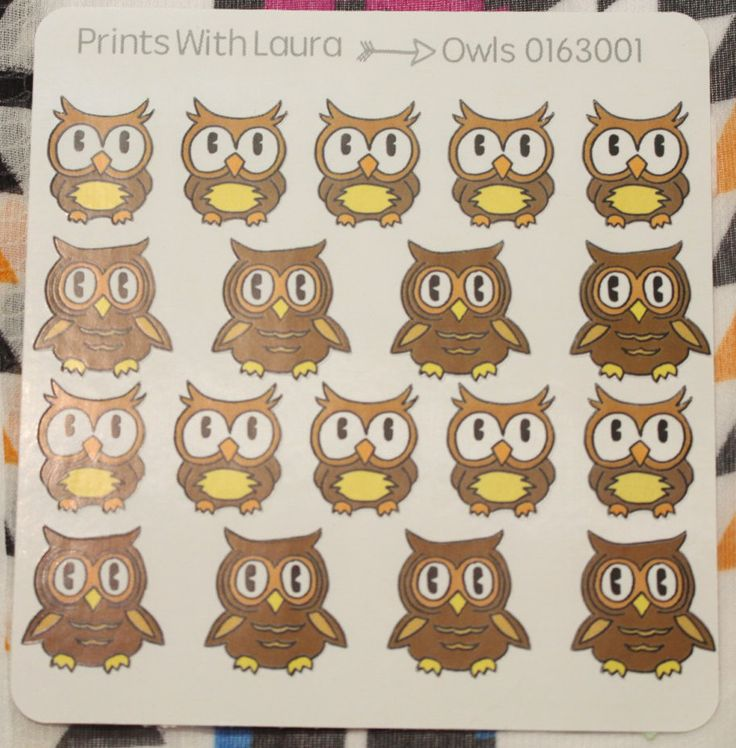 18 Kawaii cute owl stickers   Erin Condren Life Planner   MAMBI Happy Planner by printswithlaura on Etsy