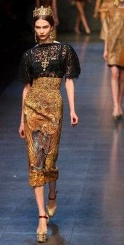 Highlights from the runway at the Dolce & Gabbana Fall/Winter 2013/2014 fashion show for Milan Fashion Week Womenswear on February 24, 2013 in Milan, Italy.