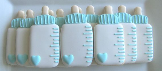 Boy or Girl Baby Bottle Decorated Sugar Cookies by DolceDesserts, $30.00