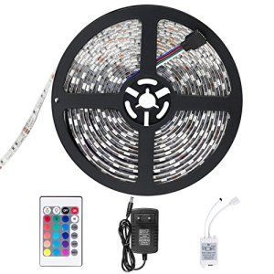 SENDIS Ruban LED Etanche 5M 3528 RGB Multicolore SMD 300 LED Bande Flexible Lumineux Strip Light + Télécommande à infrarouge 24 touches +…