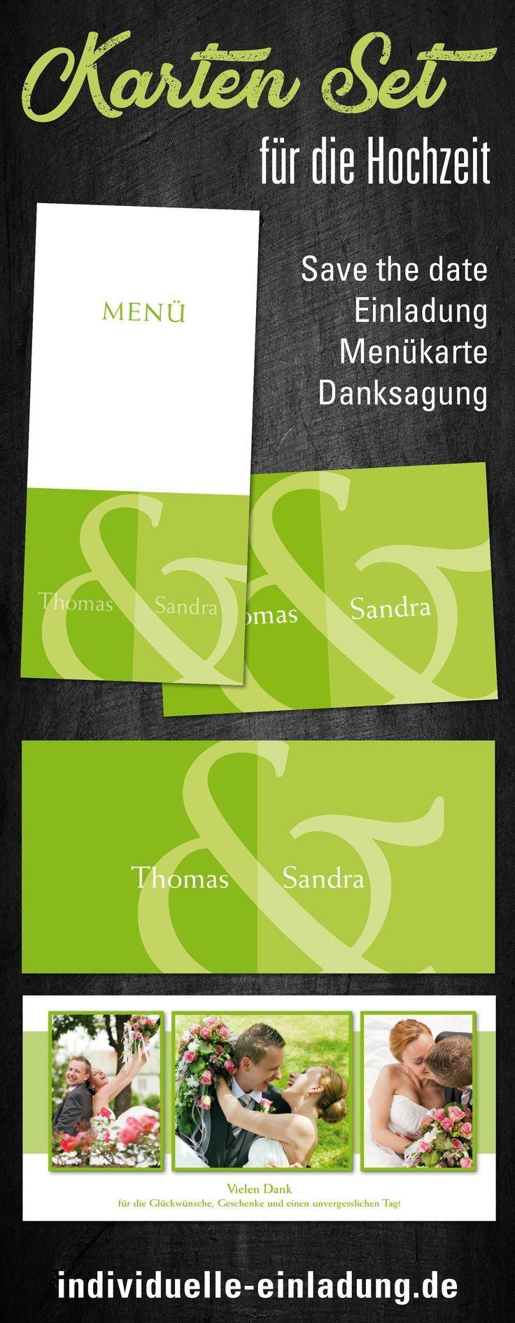 Einladungskarten für die Hochzeit: Namen in Grün…
