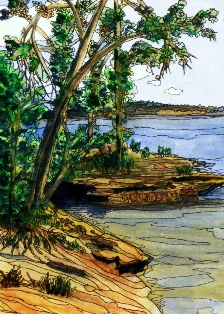 """Island Coast""  Watercolor & Ink 5"" x 7"""