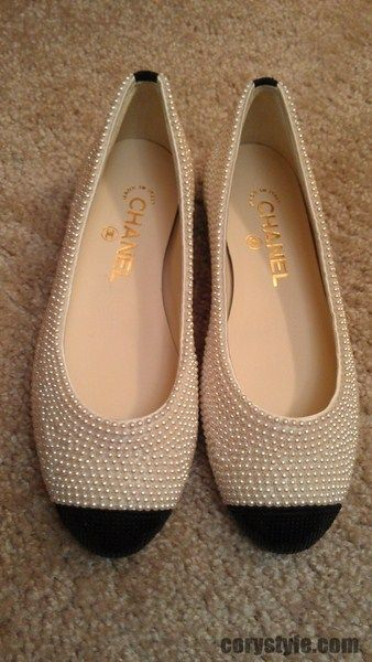 Chanel pearl embellished flats
