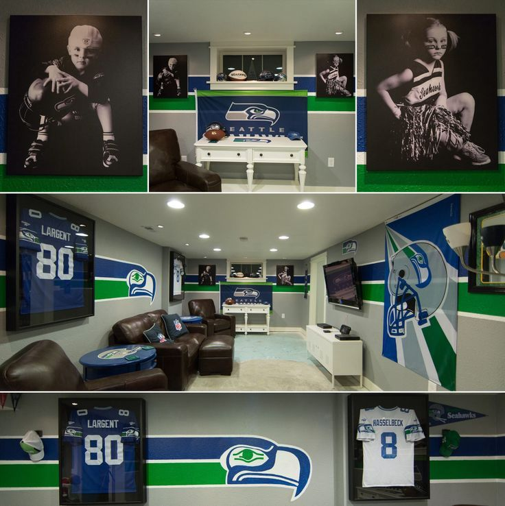 seahawks room. I love the grey with two simple stripes